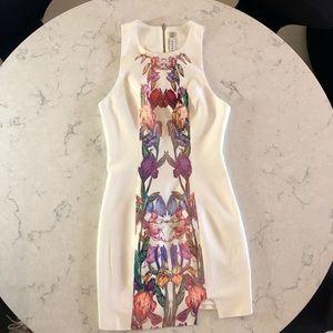 Keepsake White Sleeveless Mini Dress with Floral